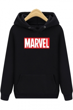 Hot Popular Letter MARVEL Printed Long Sleeve Regular Fitted Hoodie with Kangaroo Pocket