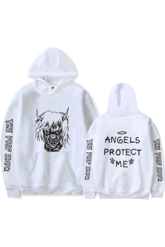 Hot Popular American Rapper Monster Letter ANGELS PROTECT ME Print Loose Fit Pullover Hoodie