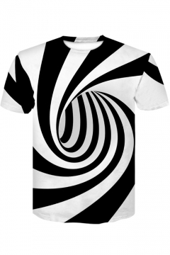 Cool 3D Striped Whirlpool Print Black and White Casual T-Shirt