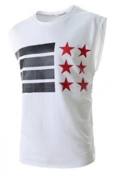 Men's Cool American Flag Star Printed Round Neck Sleeveless Loose Tank Top