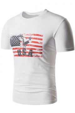 Men's White Round Neck Short Sleeve American Flag Letter USA Print Fitted T-Shirt