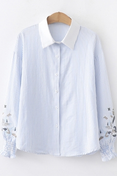 09fe9104ded05f Fashion Embroidery Long Sleeve Classic Striped Print Lapel Collar Button  Shirt 28% off