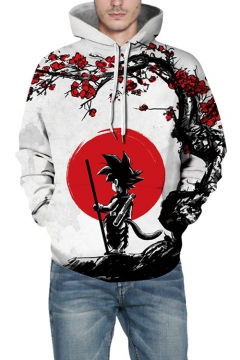 Cool 3D Floral Comic Character Printed Long Sleeve Loose Casual White Hoodie
