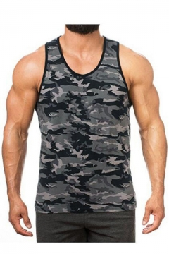 e8385274793e60 Men s Summer Classic Camouflage Printed Scoop Neck Sleeveless Racerback  Muscle Tank Top