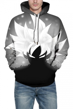 New Stylish 3D Comic Character Printed Long Sleeve Casual Loose Grey Hoodie
