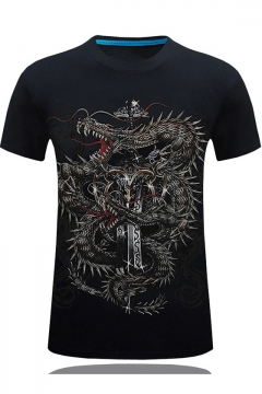 Cool 3D Dragon Sword Pattern Round Neck Short Sleeve Men's Fitted T-Shirt