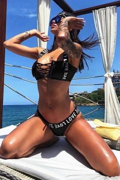 New Stylish Letter LOVE Printed Sexy Hollow Out Lace-Up Summer Bikini Swimwear