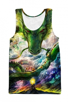 559a0b696c5271 Men s Cool 3D Green Dragon Ball Pattern Scoop Neck Sleeveless Sport Tank Top