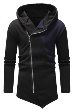 Trendy Patchwork Long Sleeve Side Zip Up Irregular Hem Men Fitted Hoodie