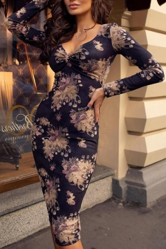 ab1fad8d Women's Retro Floral Printed V-Neck Long Sleeve Sexy Bodycon Navy Midi Dress