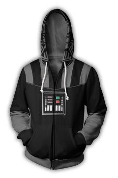 Star Wars Darth Vader Cosplay Costume 3D Print Black Zip Up Hoodie