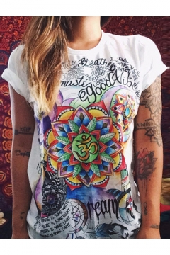 f0e9d083cfc Cool Indian Floral Letter Totem Print Summer Casual White Short Sleeve T- Shirt