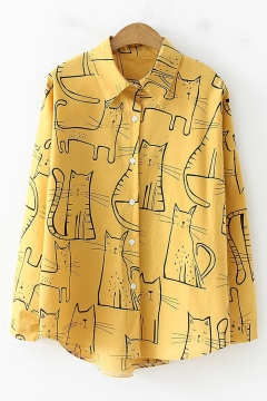 Vintage Cartoon Cat Pattern Long Sleeve Loose Fit Button Shirt