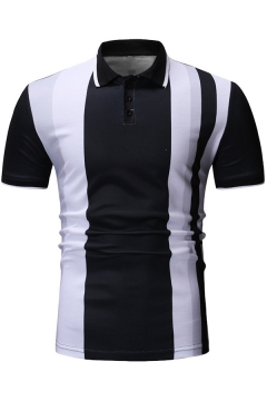 a9127e001 Summer New Fashion Vertical Striped Short Sleeve Slim Fit Polo for Men