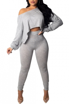 1953abf1c47ed7 Sexy One-Shoulder Long Sleeve Cropped Top Skinny Fit Pants Plain Set for  Women 26% off