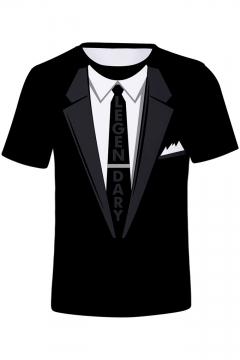 Summer Cool 3D Like A Level 99 Boss Letter LEGENDARY Tie Blazer Print Short Sleeve Black T-Shirt