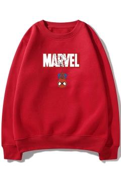 Funny Marvel Spider-Man Printed Crewneck Long Sleeve Loose Fit Sweatshirt