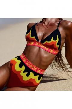 Popular Fire Letter SEAQUEEN Printed Summer Sexy Beach Bikini Swimwear in Orange