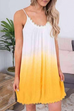 14930a296ba Trendy Ombre Two-Tone Lace-Trimmed Mini Loose Swing Cami Dress