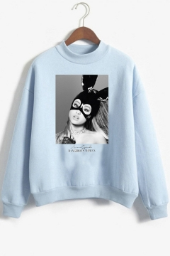 New Trendy Popular Singer Figure Print Mock Neck Long Sleeve Pullover Loose Sweatshirt