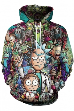 Rick and Morty 3D Comic Pattern Long Sleeve Unisex Casual Loose Hoodie
