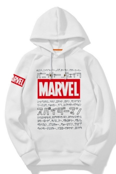 New Popular MARVEL Logo Print Long Sleeve White Loose Leisure Hoodie