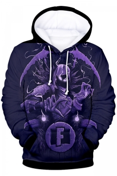 3D Figure Printed Long Sleeve Unisex Drawstring Hoodie