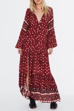 9b73f830154 Women s Fashion Ethnic Floral Printed V-Neck Long Sleeve Sexy Split Front  Burgundy Maxi Beach