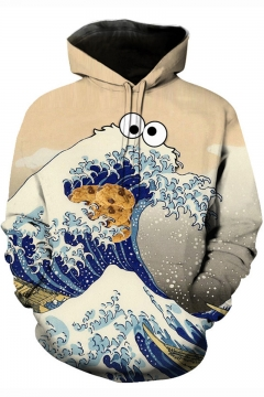 Ukiyo-e 3D Cartoon Wave Cookie Pattern Long Sleeve Pullover Sport Casual Apricot Hoodie
