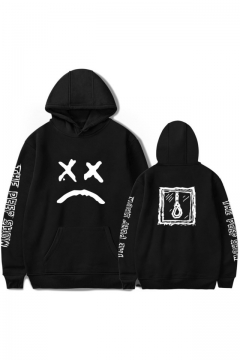 American Rapper Street Fashion Sad Face Print Loose Relaxed Long Sleeve Hoodie