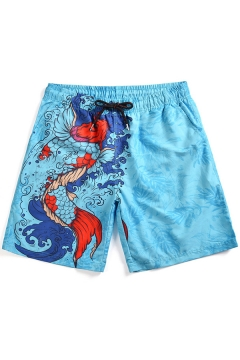 5ef30a4cf6 New Trendy Summer Carp Pattern Men's Quick-Dry Beach Blue Casual Swim Trunks