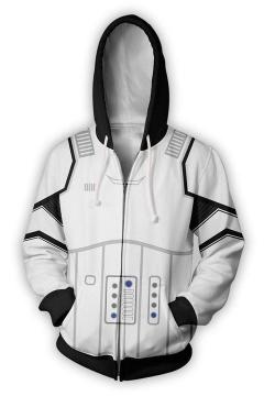 Star Wars Darth Vader 3D Pattern Long Sleeve Loose Fit White Zip Up Hoodie