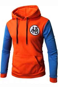 Mens Anime Dragon Ball Goku Symbol Colorblock Long Sleeve Fitted Hoodie