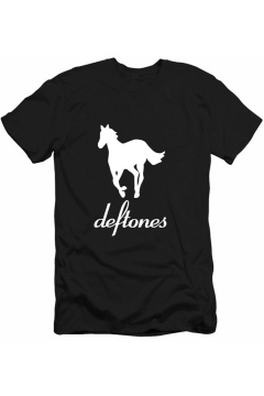Stylish Rock Letter DEFTONES Horse Print Casual Loose T-Shirt