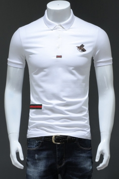 1ab0df31576 Men Stylish Bee Embroidery Chest Stripe Patched Short Sleeve Cotton  Slim-Fit Polo