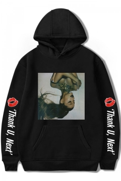 American Singer Popular Letter Thank U Next Figure Print Long Sleeve Unisex Relaxed Hoodie