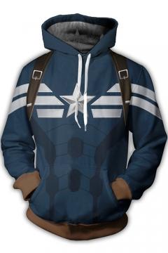 3D Print Cosplay Costume Long Sleeve Blue Drawstring Hoodie