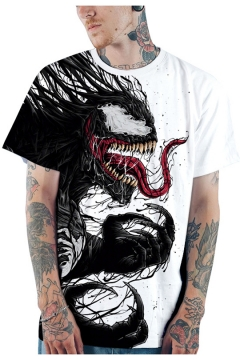 New Popular 3D Pattern Loose Fit Short Sleeve White T-Shirt