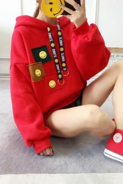 Fancy Red Smile Face Pattern Drawstring Hood Long Sleeves Pullover Hoodie
