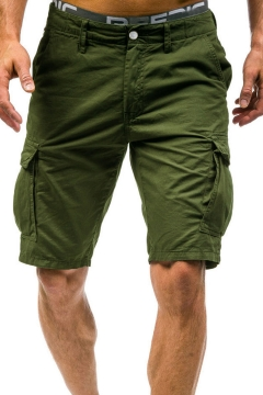 New Trendy Casual Loose Simple Plain Flap Pocket Side Men's Cargo Shorts