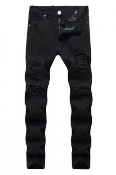 a65e87e83ae5 Mens Black Fashion Distressed Ripped Slim Fit Jeans