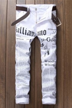 Fashion Retro Newspaper Letter Printed Guys White Slim Fit Jeans