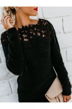 Black Long Sleeve Boat Neck Plain Lace Patched Knit Sweater