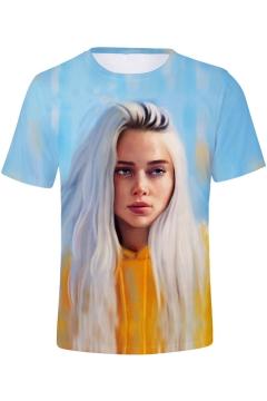 Cool 3D Portrait Printed Basic Short Sleeve Round Neck T-Shirt