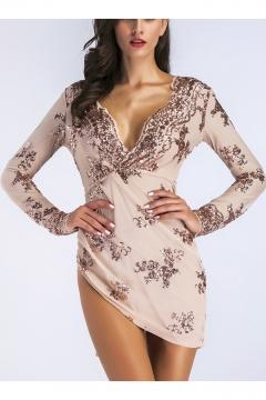 3d6f2505244c1 Sexy Women's Plunge Neck Asymmetrical Hem Lattice Back Sequined Bodycon  Mini Dress