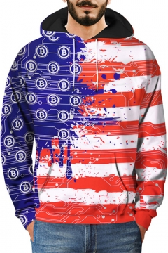 Creative Thai Baht Flag 3D Striped Printing Long Sleeve Red Pullover Loose Fit Hoodie