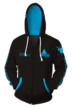 Detroit Become Human Letter ANDROID Printed Long Sleeve Zip Placket Black Hoodie