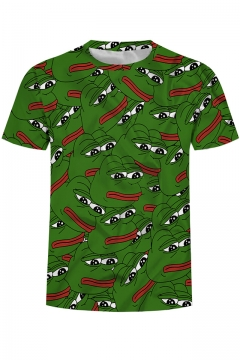 Summer Fashion 3D Allover Pepe the Frog Printed Casual Short Sleeve Crewneck Green T-shirt