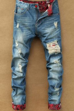 New Stylish Fashion Patchwork Rolled Cuff Regular Fit Blue Ripped Jeans for Men