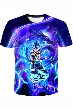 Dragon Ball Cool 3D Comic Figure Print Short Sleeve Round Neck T-Shirt